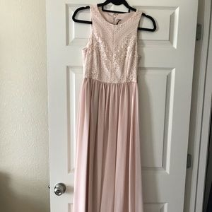 Blush pink gown, lace detail top with gold.